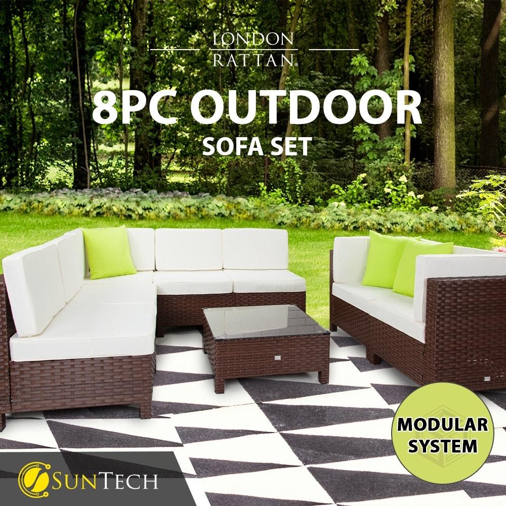 LONDON RATTAN Modular Sofa Outdoor Furniture Set 8pc Wicker Brown Cream