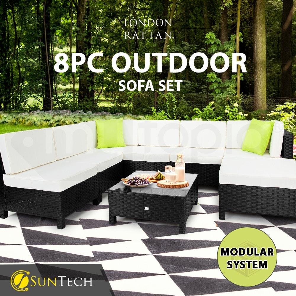 LONDON RATTAN Modular Sofa Outdoor Furniture Set 8pc Wicker Black Light Grey