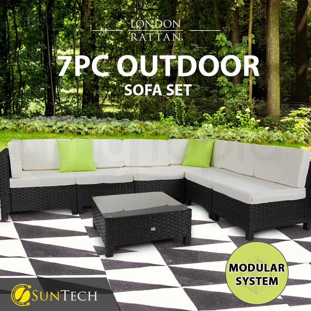 LONDON RATTAN Modular Sofa Outdoor Lounge Set 7pc Wicker Black Light Grey
