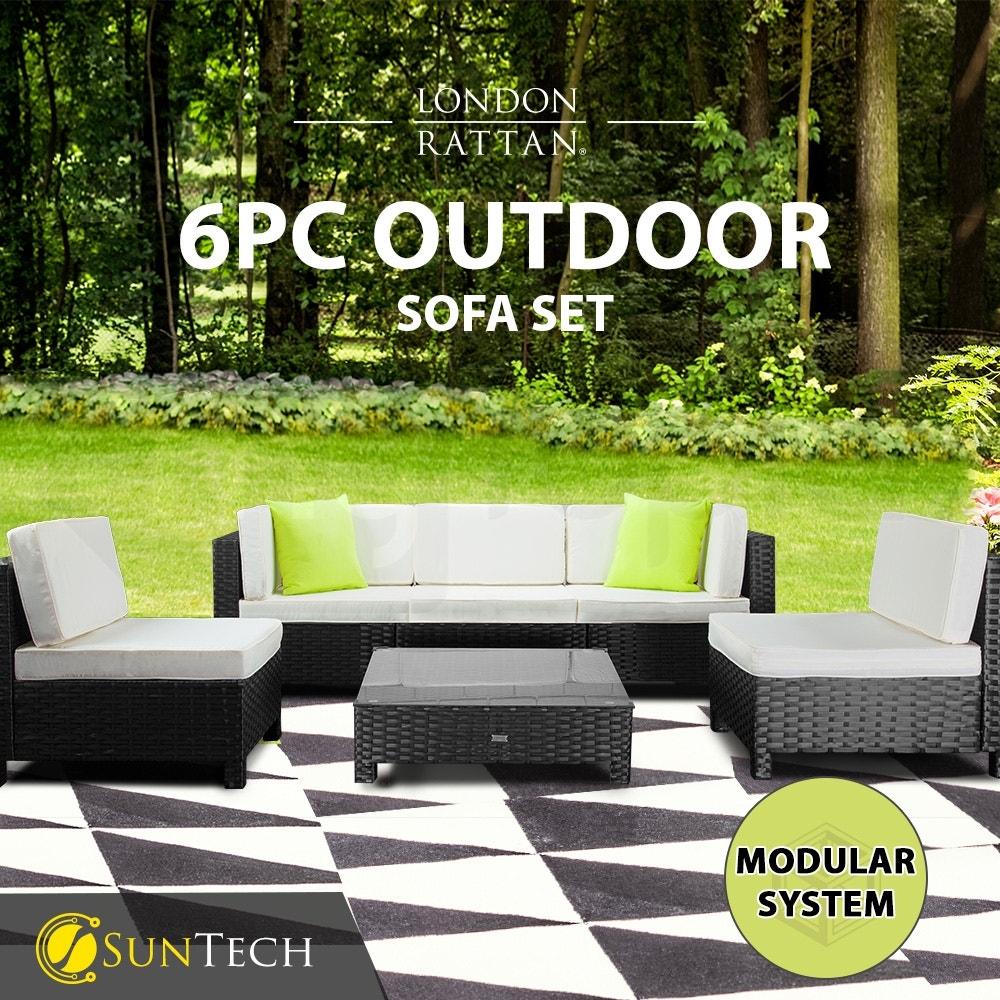 LONDON RATTAN Modular Sofa Outdoor Lounge Furniture 6pc Wicker Black Light Grey