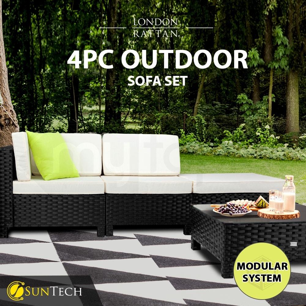 LONDON RATTAN Modular Sofa Outdoor Lounge Set 4pc Wicker Black Light Grey