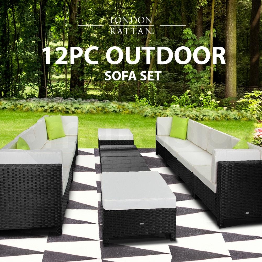 LONDON RATTAN Modular Sofa Outdoor Lounge Set 12pc Wicker Black Light Grey