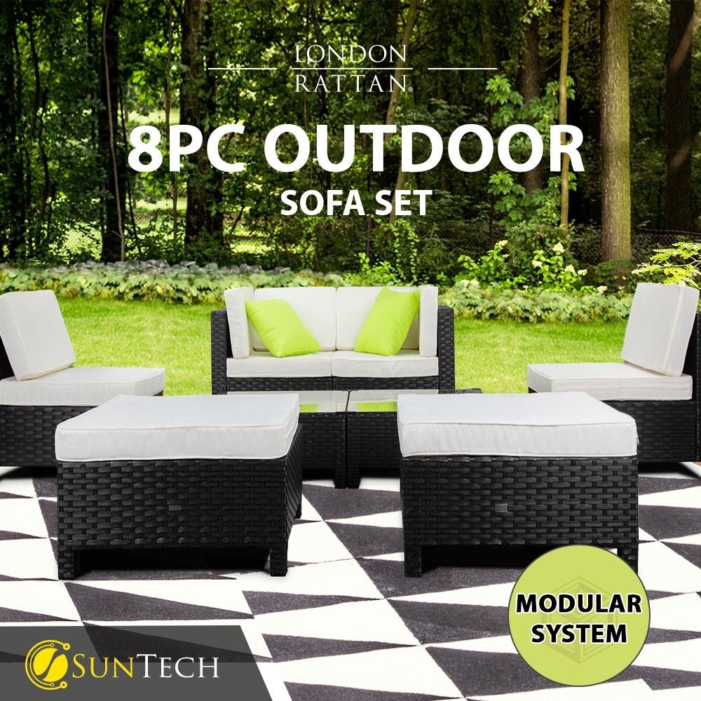 LONDON RATTAN Modular Sofa Outdoor Lounge Set 8pc Wicker Black Light Grey