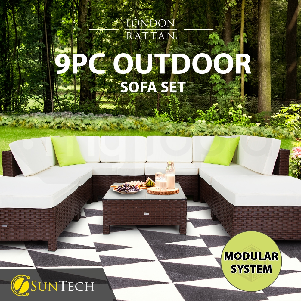 LONDON RATTAN Modular Sofa Outdoor Lounge Set 9pc Wicker Brown Beige