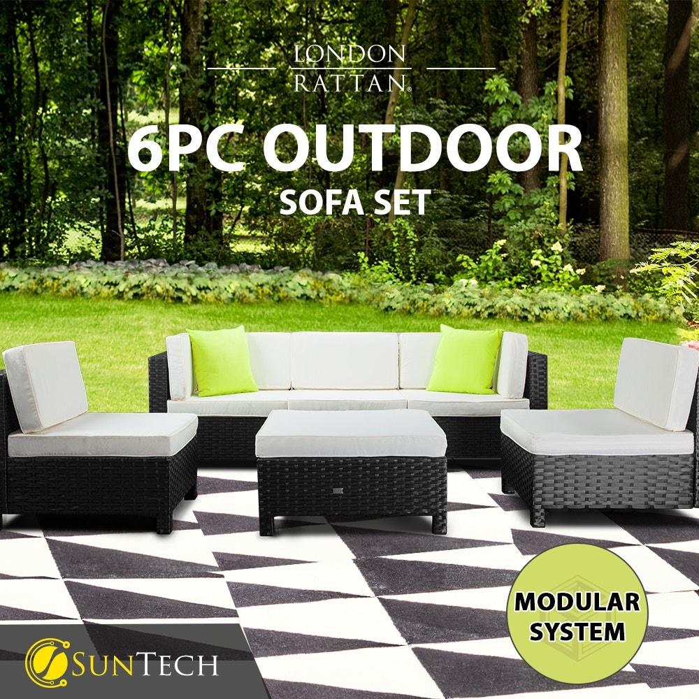 LONDON RATTAN Modular Sofa Outdoor Setting Furniture 6pc Wicker Black Light Grey