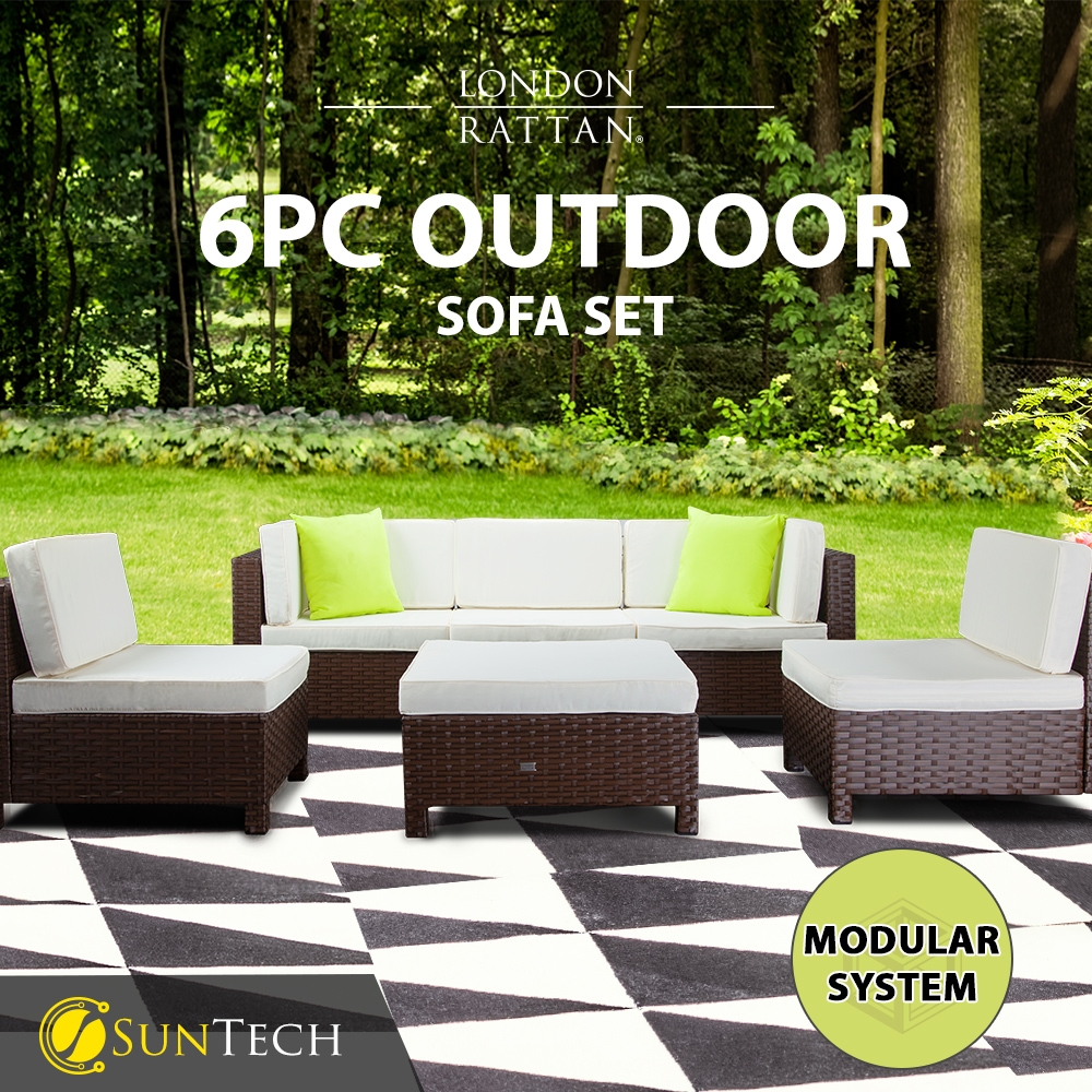 LONDON RATTAN Modular Sofa Outdoor Setting Lounge Set 6pc Wicker Black Light Grey