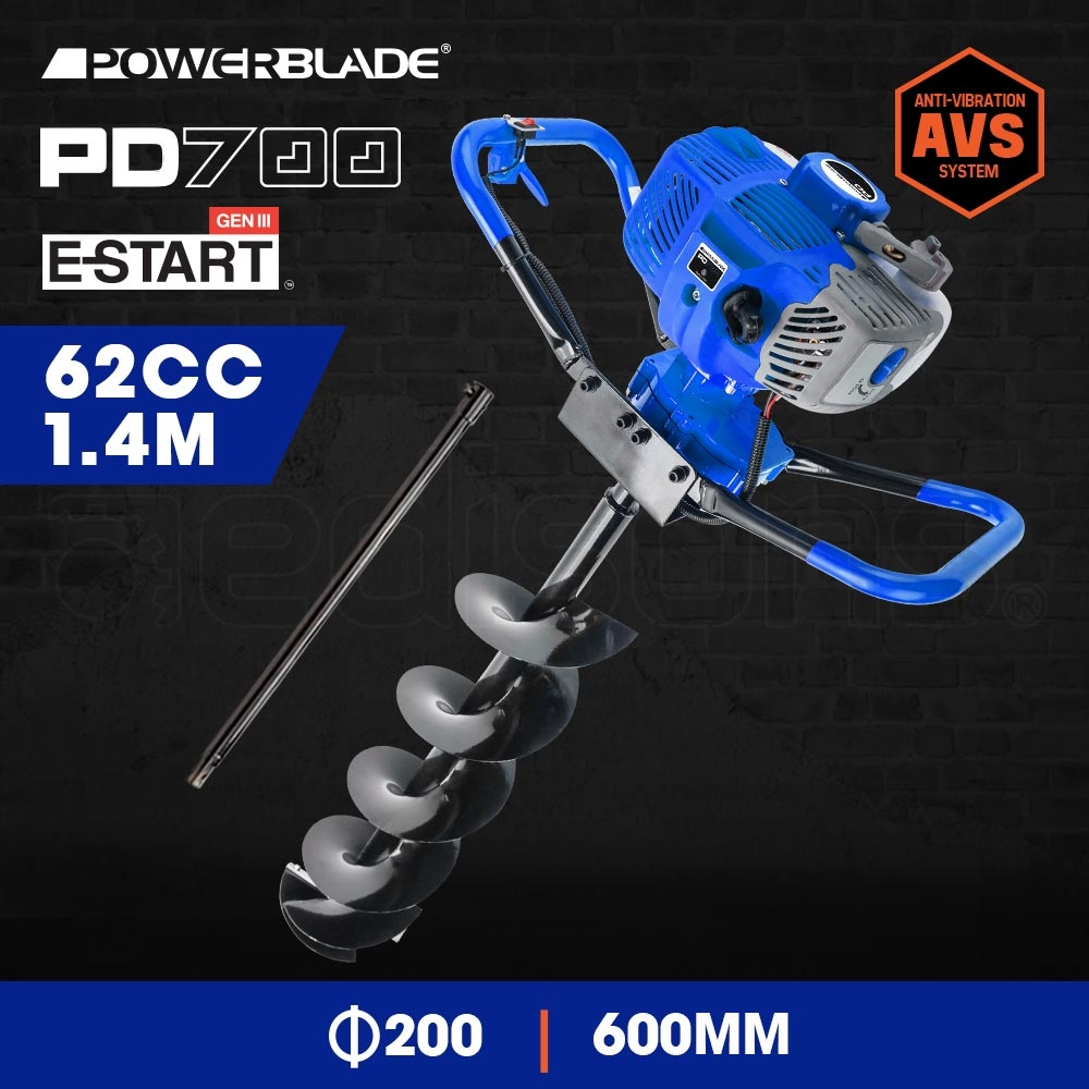 POWERBLADE Post Hole Digger 62CC Posthole Earth Auger Fence Borer Petrol Drill