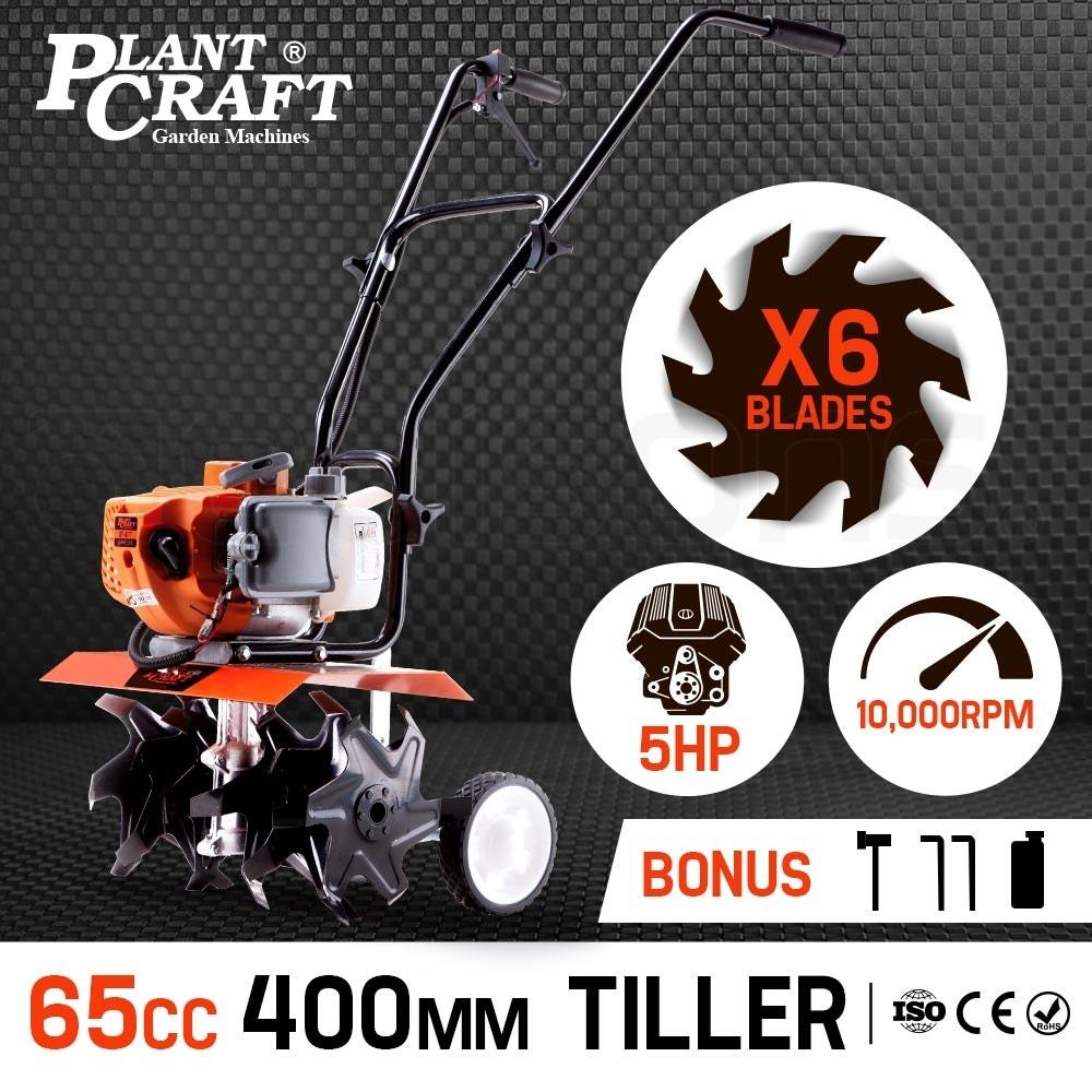 PLANTCRAFT Cultivator Tiller 65CC Petrol Rotary Hoe Garden 6 Tine Rototiller