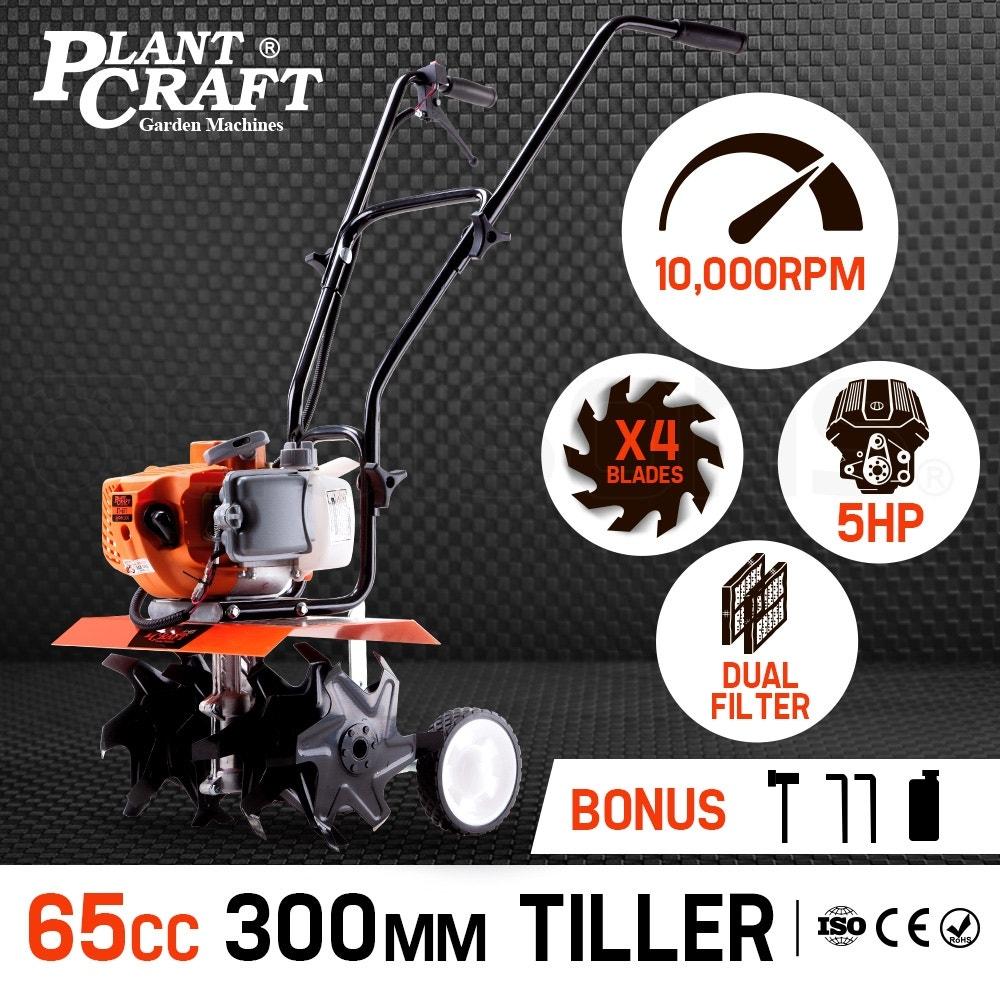 PLANTCRAFT Tiller Cultivator 65CC Petrol - Rotary Hoe Garden Mini 4 Tine