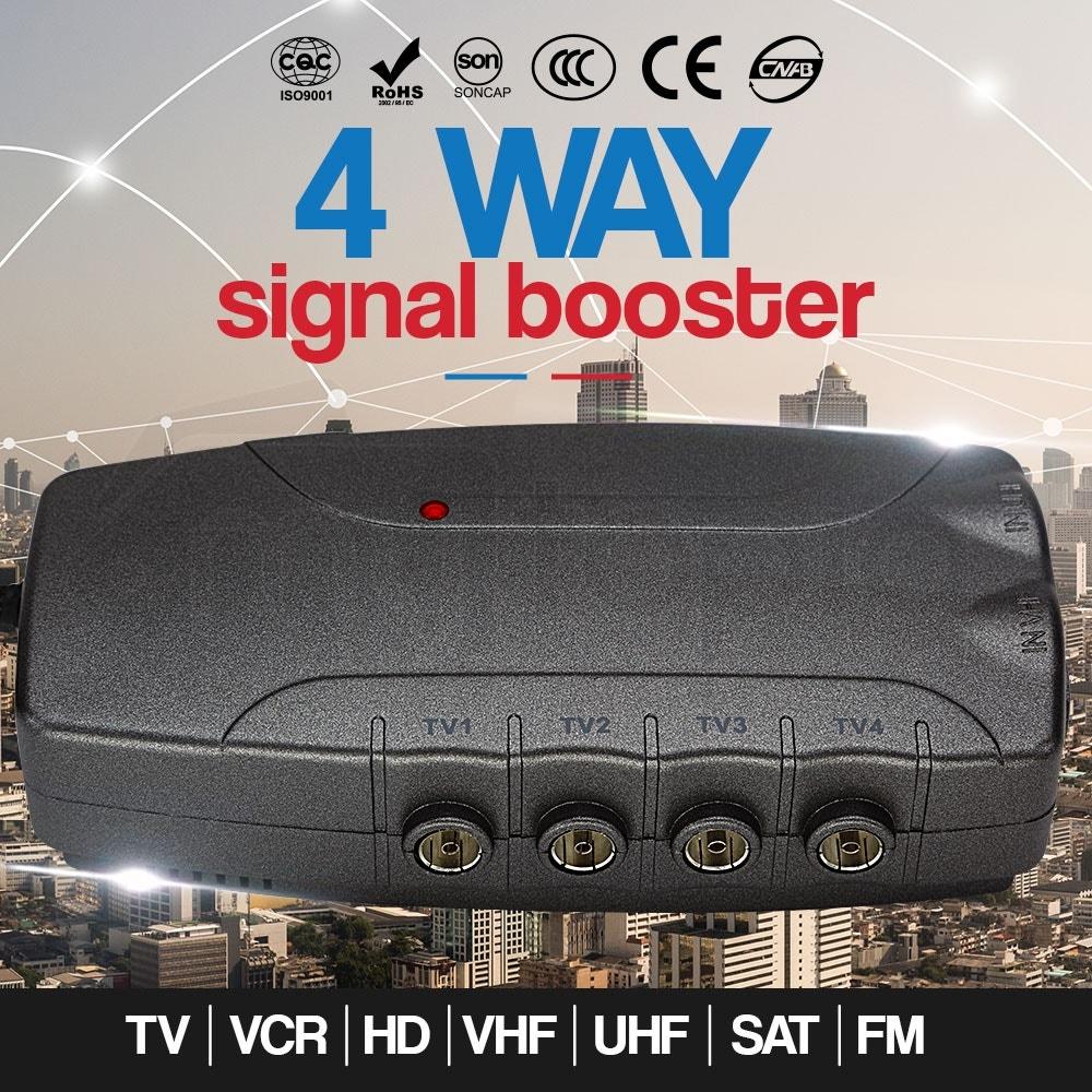 4 Way Digital Signal Booster TV VCR Satellite Antenna Amplifier Splitter