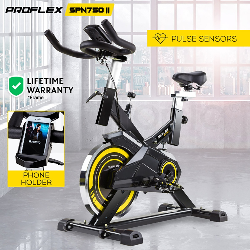 PROFLEX Commercial Spin Bike Flywheel Exercise Workout Home Gym Yellow