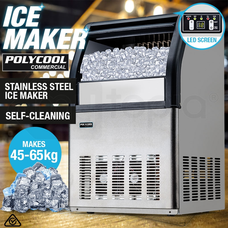 POLYCOOL Commercial Ice Cube Maker Machine Fridge Home Bar Freezer 45-65kg/Day