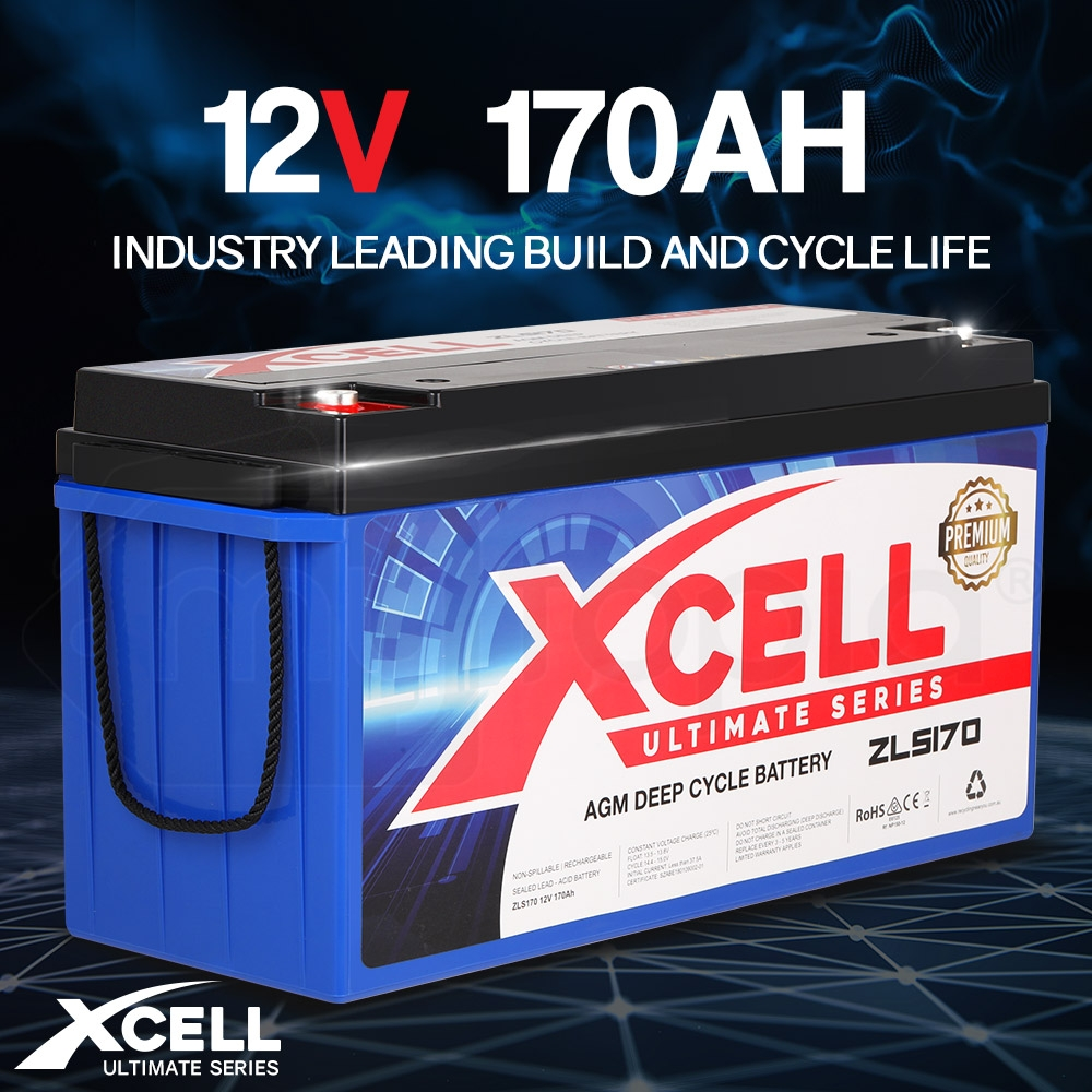 X-CELL AGM Deep Cycle Battery 12V 170Ah Portable Sealed Ultimate Series - ZLS170