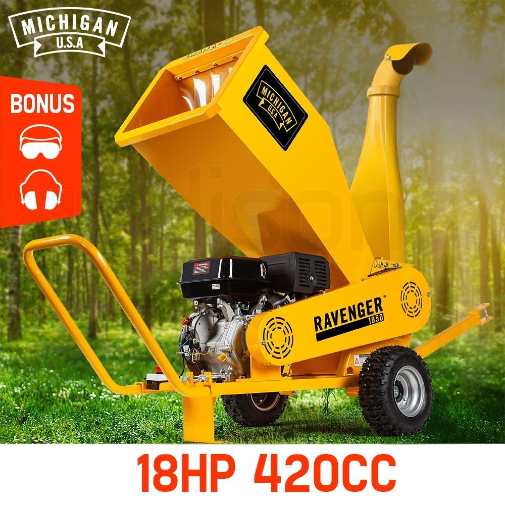 PRE-ORDER MICHIGAN 18HP 420cc Commercial Petrol Wood Chipper Mulcher - Ravenger