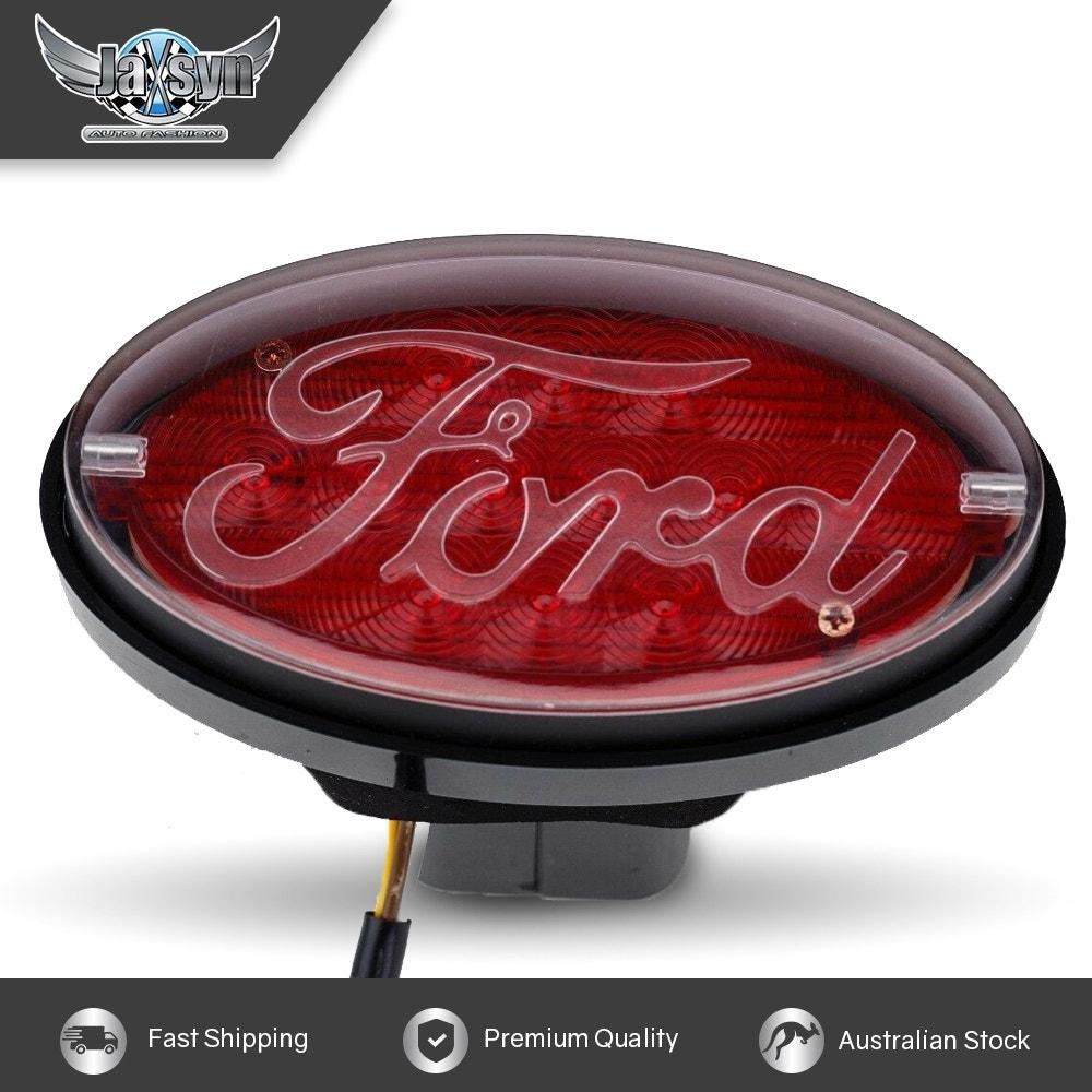 JAXSYN Novelty Tow-bar / Trailer Hitch Cover - Red Oval Ford logo Brake light
