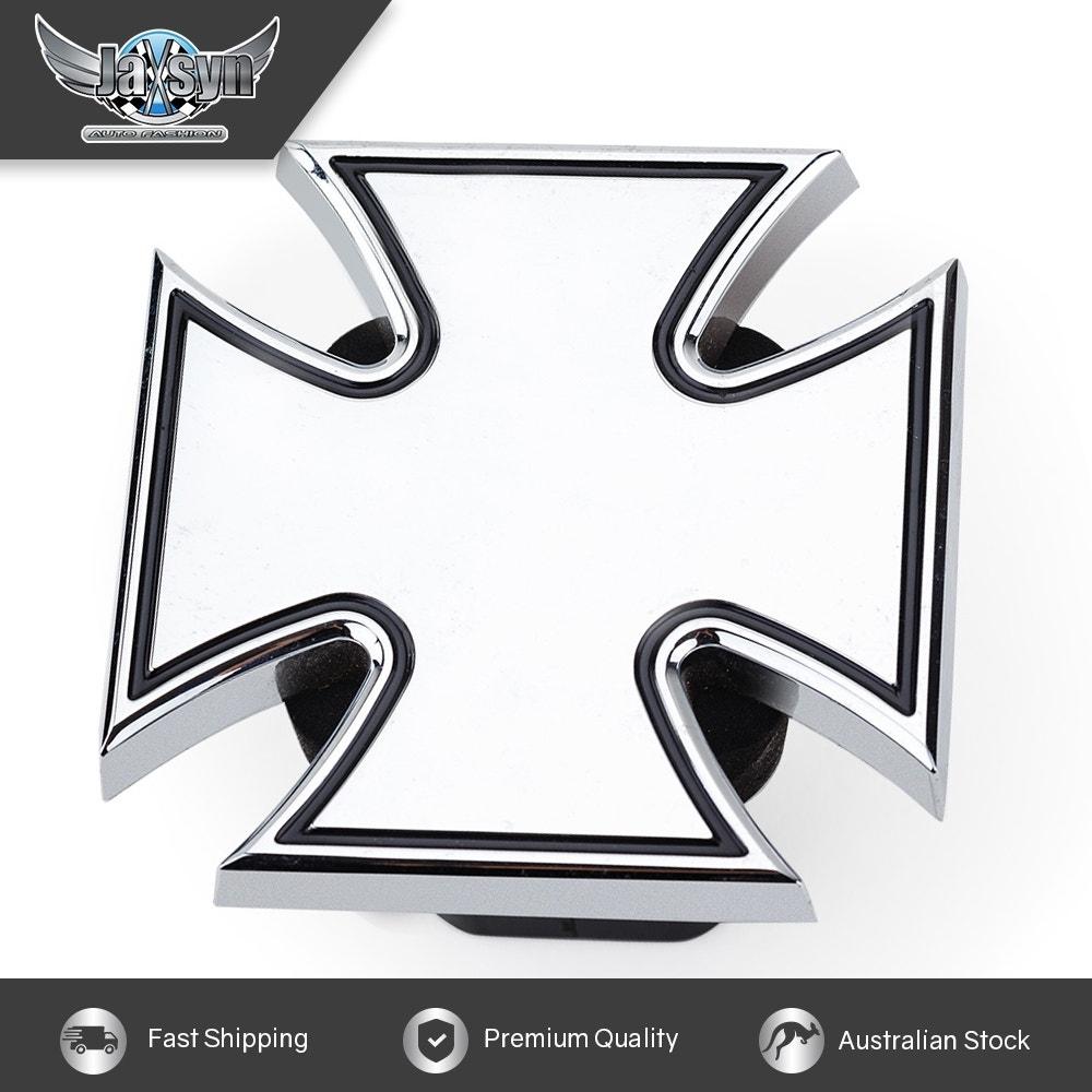 JAXSYN Novelty Tow-bar / Trailer Hitch Cover - Chrome Plated Iron Cross