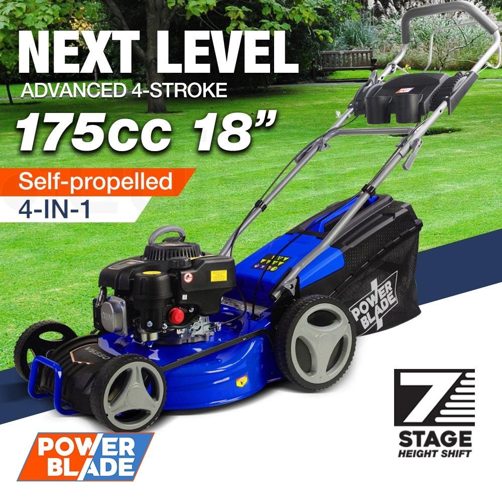 "POWERBLADE Petrol Lawn Mower 175cc 18"" 4 Stroke Self Propelled - VS550"