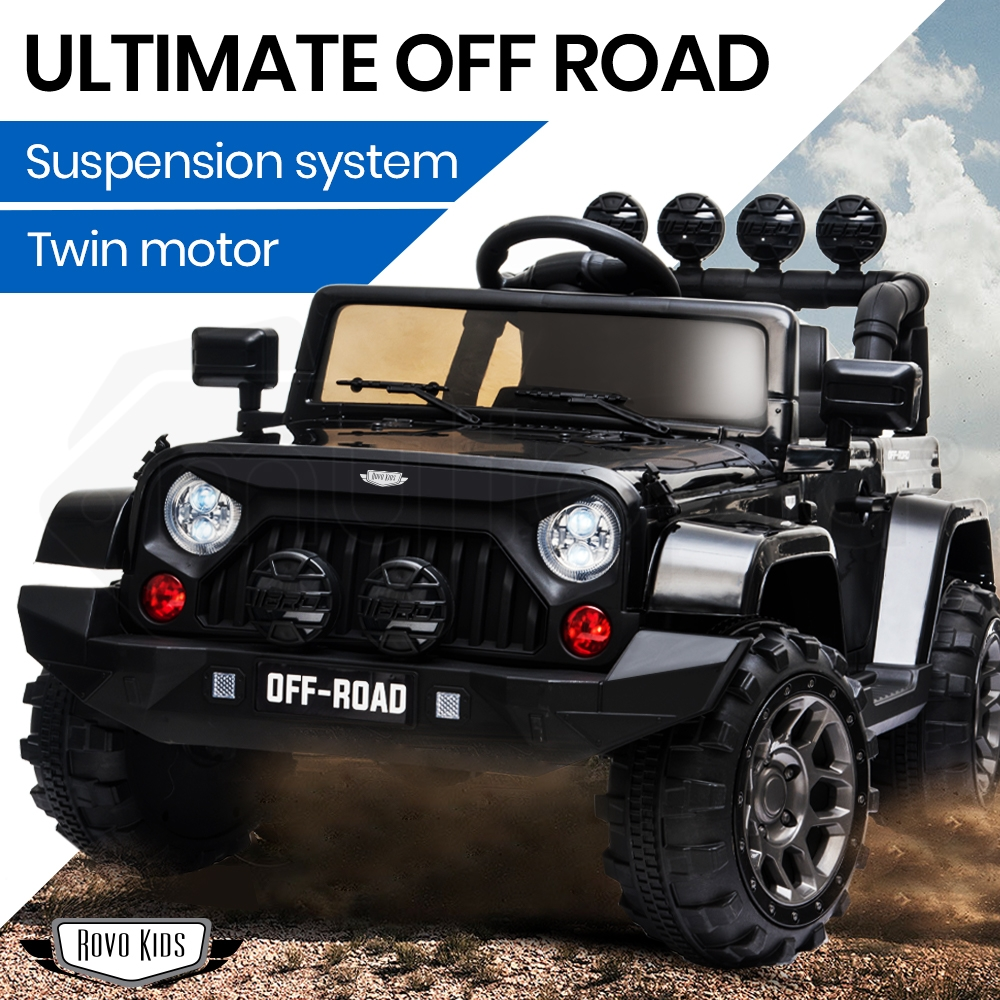 PRE-ORDER ROVO KIDS Jeep Inspired 4WD Electric Kids Ride On Car Battery Powered 12V - Black