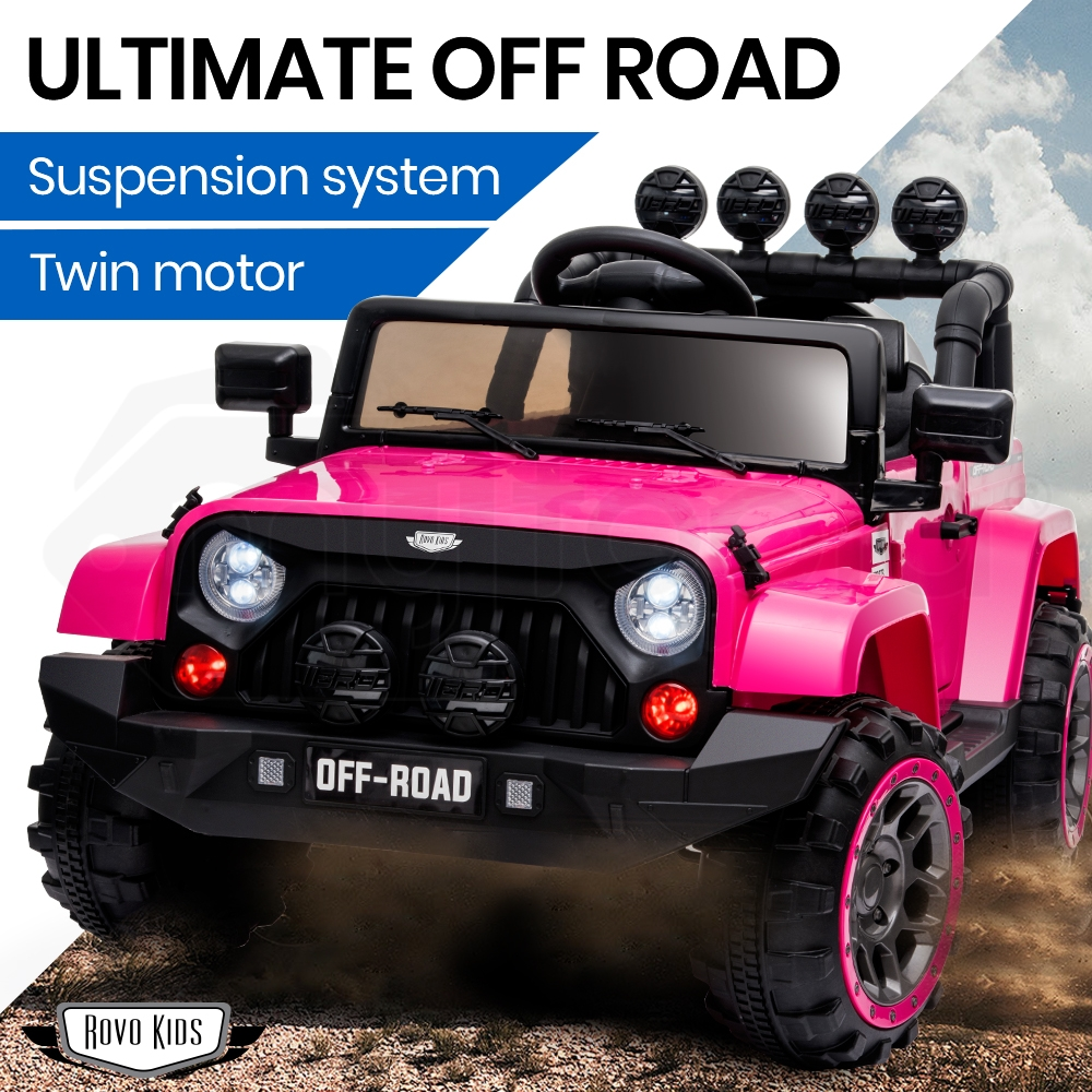 ROVO KIDS Jeep Inspired 4WD Electric Kids Ride On Car Battery Powered 12V - Pink