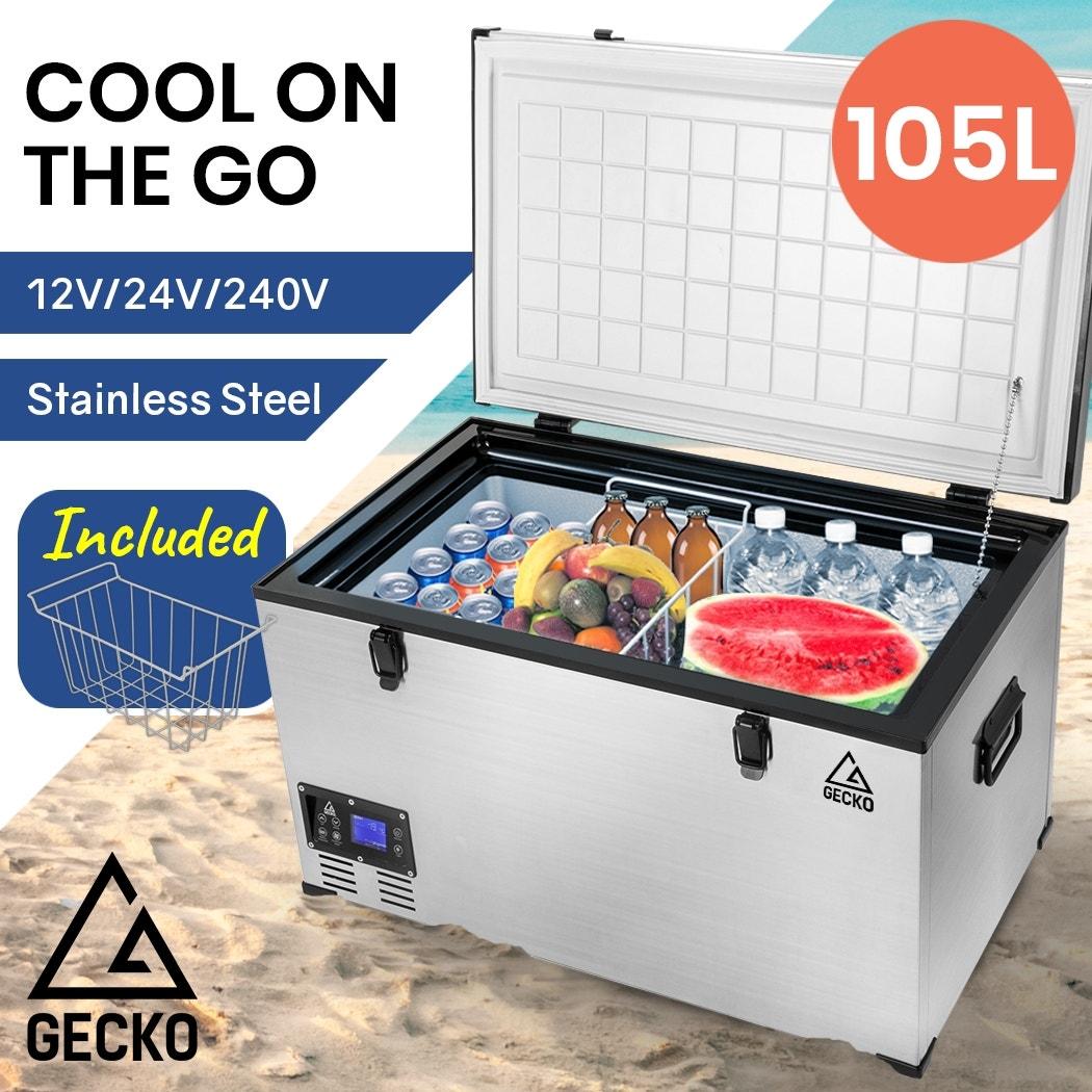 GECKO 105L 12V/24V/240V Portable Camping Fridge Freezer for Caravan Car