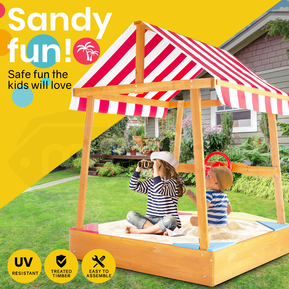 ROVO KIDS Boat Sandpit Sand Pit Wooden Outdoor Timber Children Toy Cover Canopy