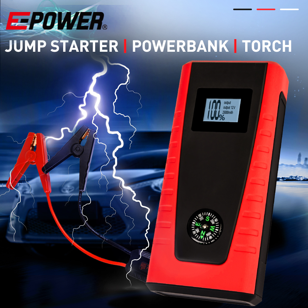 E-POWER Portable Car Vehicle Jump Starter Battery Torch Emergency Lithium 12V