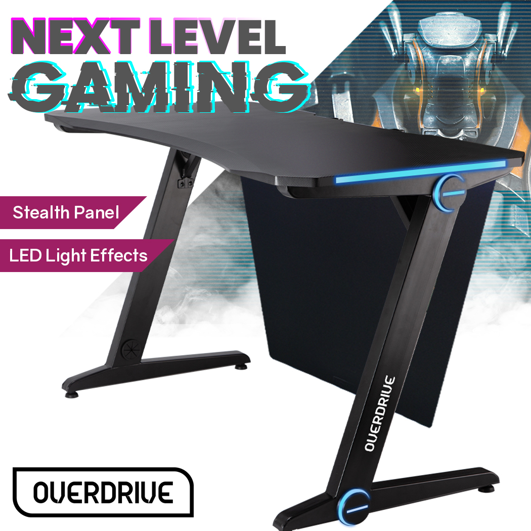 OVERDRIVE Gaming PC Desk 120x60cm Carbon Fiber Styling Blue LED Lights