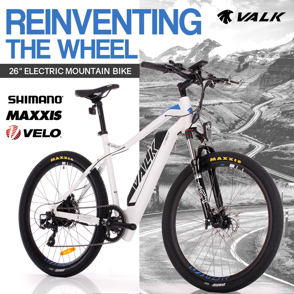 "VALK eMTB Maxxis Velo Shimano 36V 250W Electric Mountain Bike eBike 26"" White - MX6"