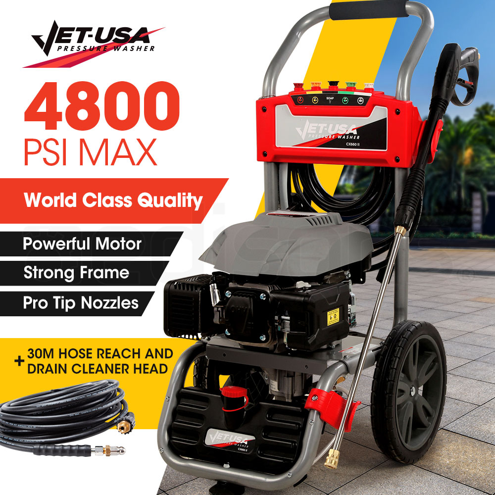 JET-USA Petrol-Powered High Pressure Cleaner Washer w/ 30m Hose Reach and Drain Cleaner - CX660