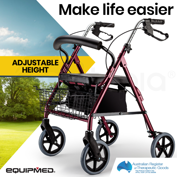 EQUIPMED 4 Wheel Aluminium Rollator Walker for Elderly, Red
