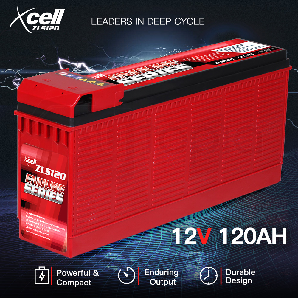 X-CELL AGM Deep Cycle Battery 12V 120Ah Slim Portable Sealed Endure Series - ZLS120