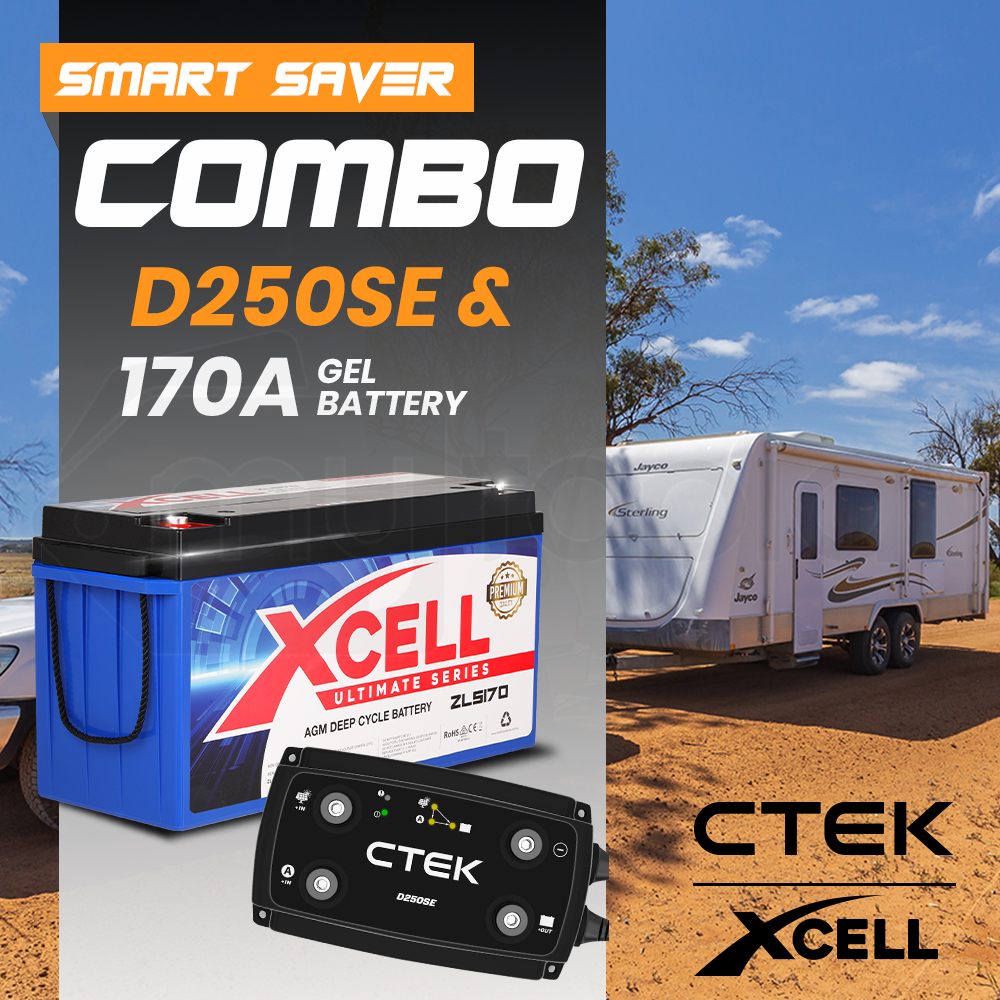 CTEK Dual Input D250SE Charger + X-CELL Deep Cycle 170A AGM Battery Bundle