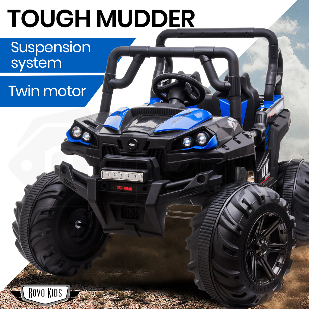 ROVO KIDS Electric Ride On ATV Quad Bike Battery Powered 12V - Black with Blue