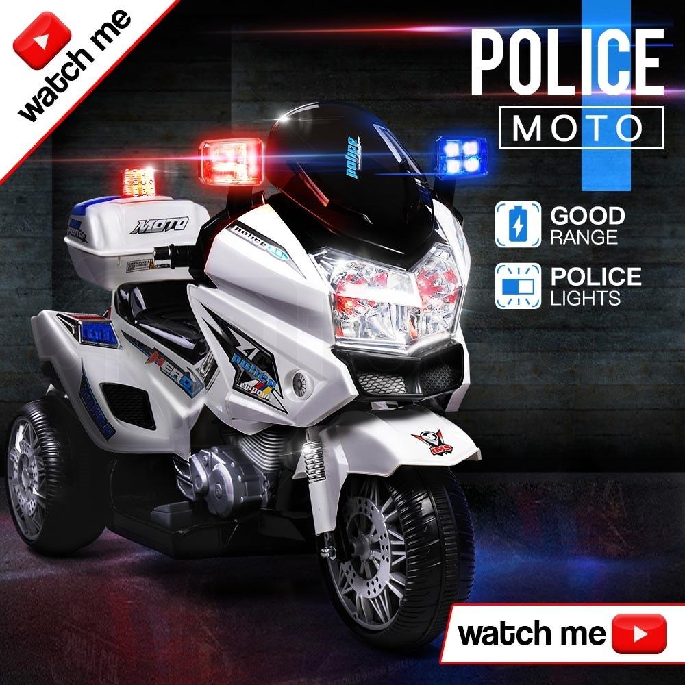 ROVO KIDS Electric Ride-On Patrol Motorbike S1K-Inspired Battery Police Toy Bike