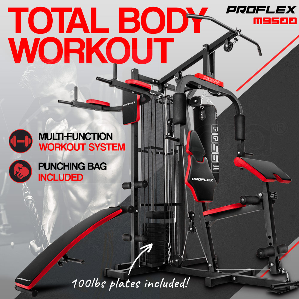 Proflex Red Multi Station Home Gym Set with 100lbs Plates & Boxing Bag- M9500