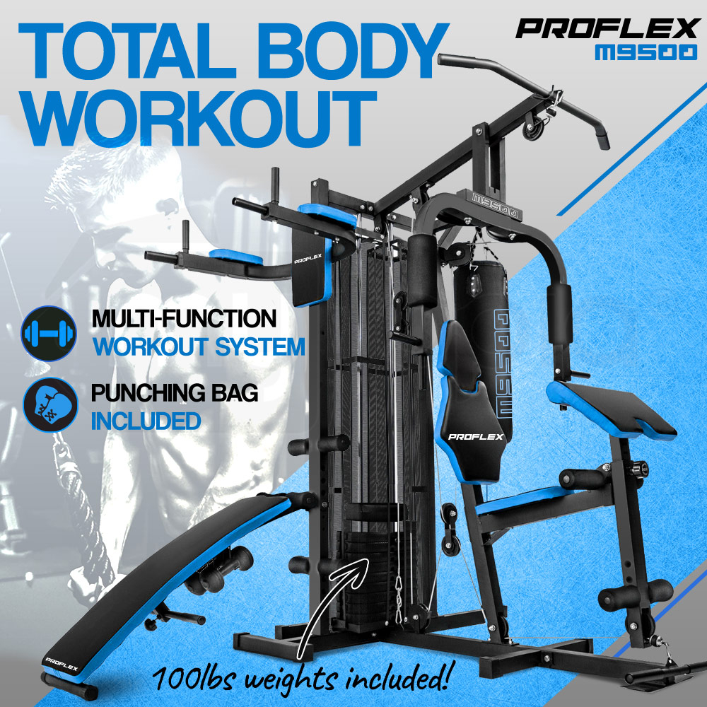 Proflex Blue Multi Station Home Gym Set with 100lbs Plates & Punching Bag- M9500