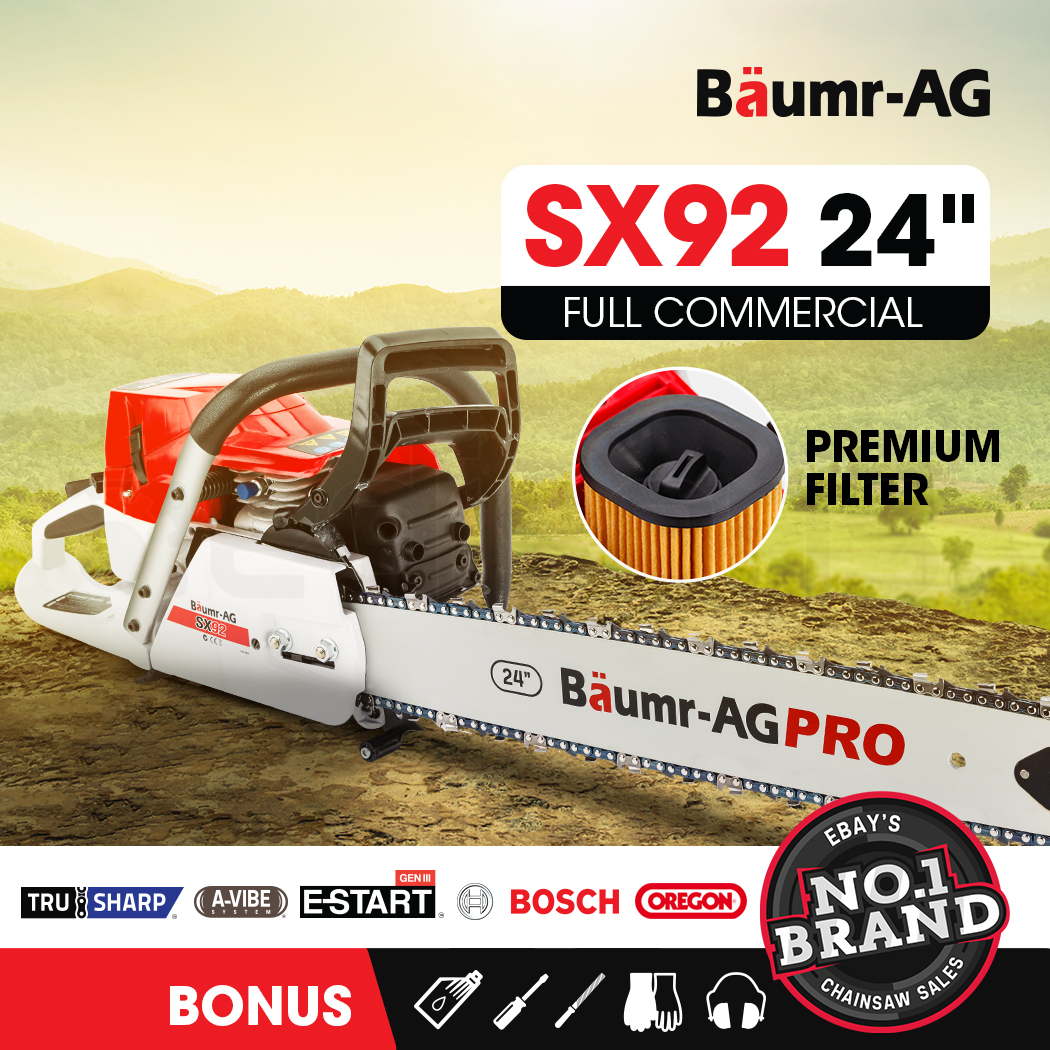 "Baumr-AG Petrol Commercial Chainsaw 24"" Bar E-Start Chain Saw Pruning"