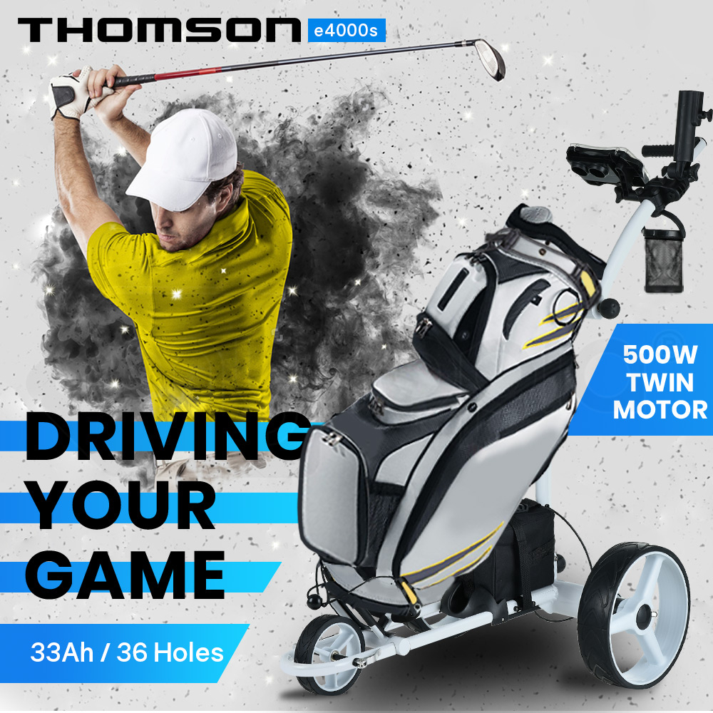 THOMSON 500W Electric Golf Buggy Twin Motor, Drink and Umbrella Holder, White