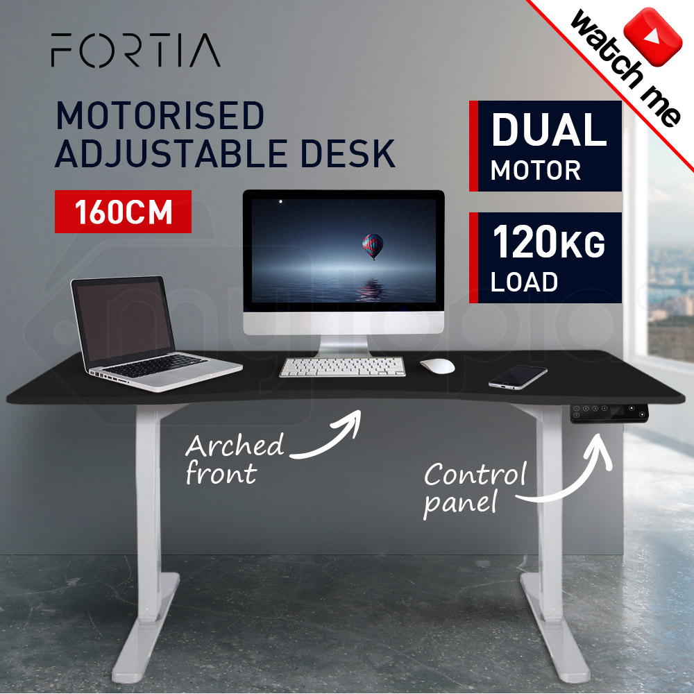 FORTIA Curve Sit/Stand Motorised Height Adjustable Desk 160cm Black/White
