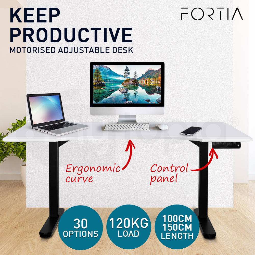 FORTIA Curve Sit/Stand Motorised Motorised Height Adjustable Desk 150cm White/Black
