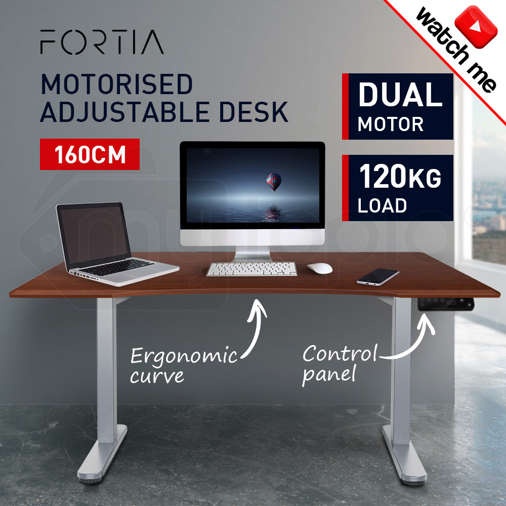 FORTIA Curve Sit/Stand Motorised Height Adjustable Desk 160cm Walnut/Silver
