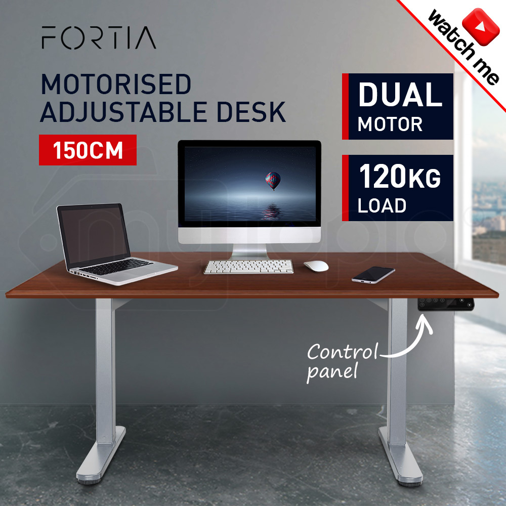 FORTIA Sit/Stand Motorised Height Adjustable Desk 150cm Walnut/Silver