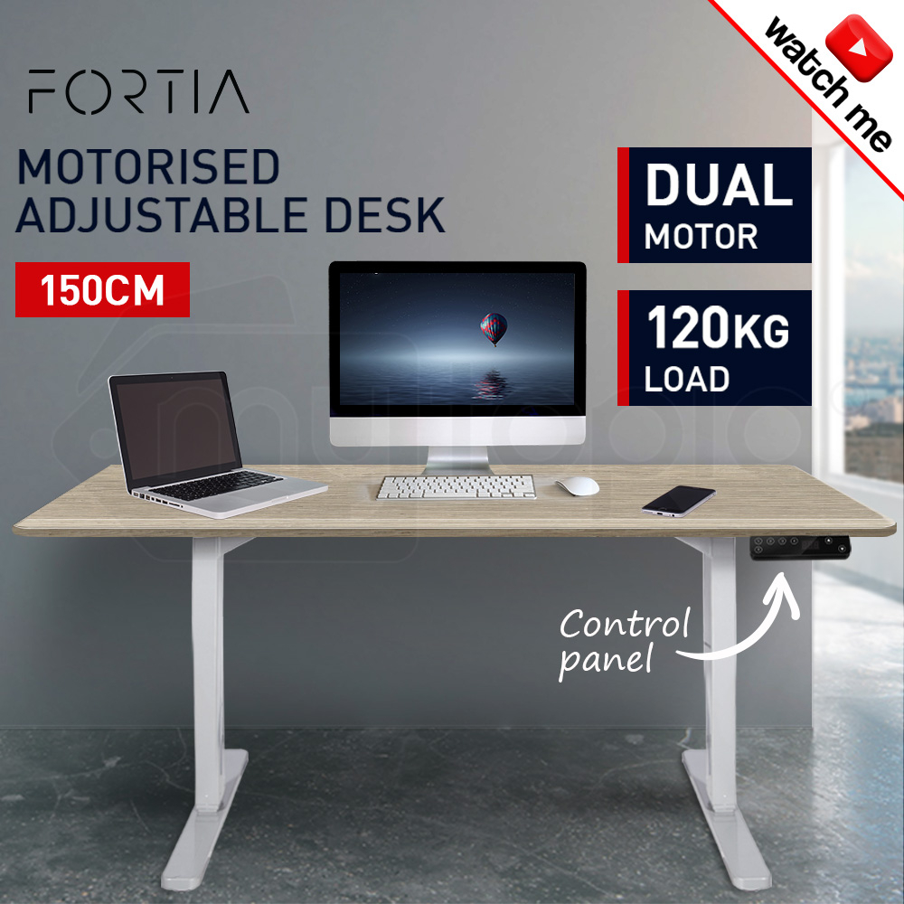 FORTIA Sit/Stand Motorised Height Adjustable Desk 150cm White Oak/White