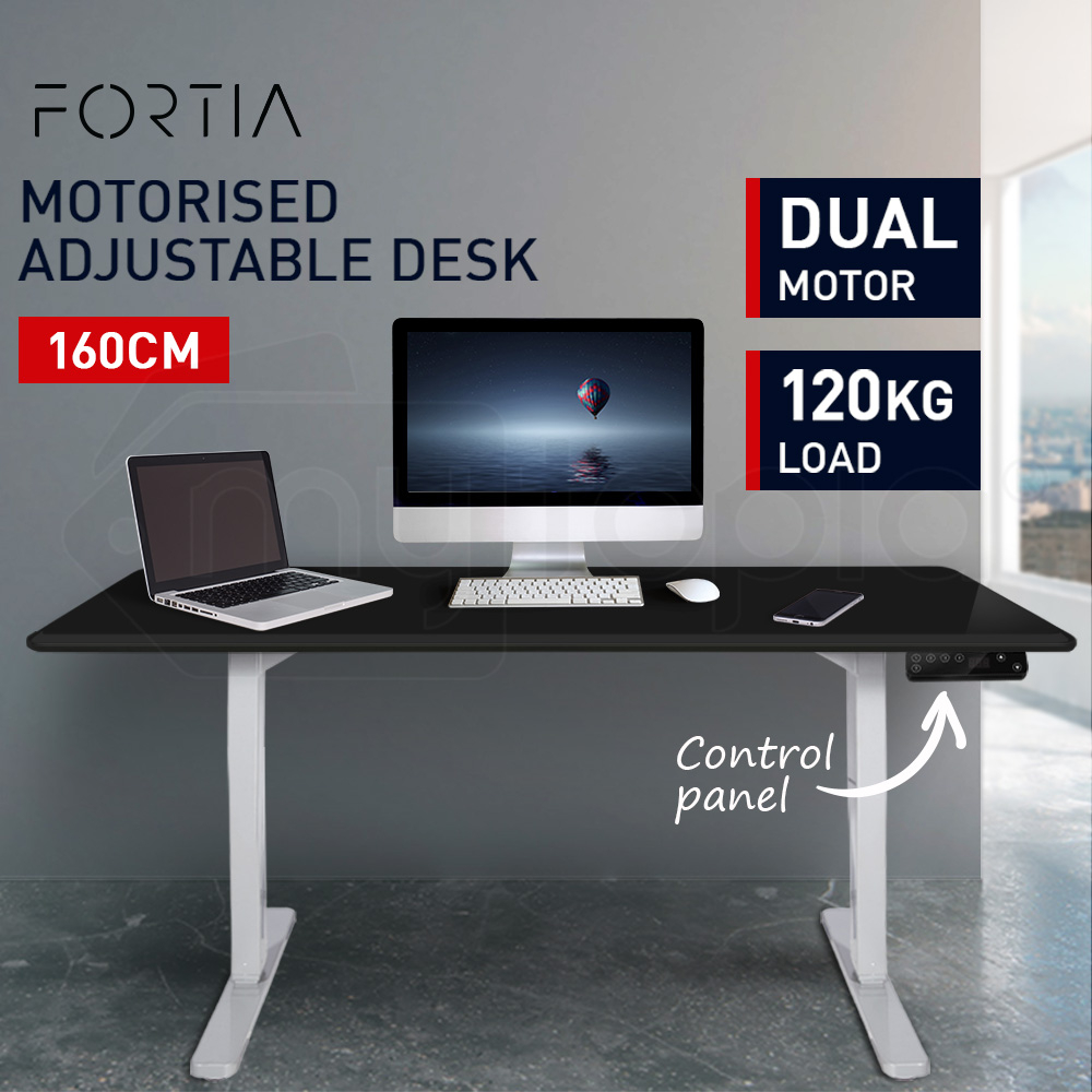 FORTIA Sit/Stand Motorised Height Adjustable Desk 160cm Black/White
