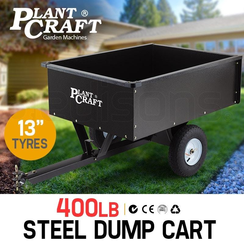 PLANTCRAFT 400LBS Steel Dump Cart Tray - Tow Quad Garden Tip Trailer ATV Ride