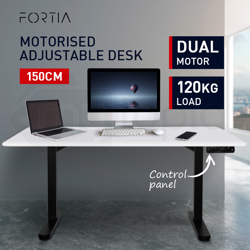 FORTIA Matte White/Black 150cm Sit Stand Height Adjustable Standing Desk
