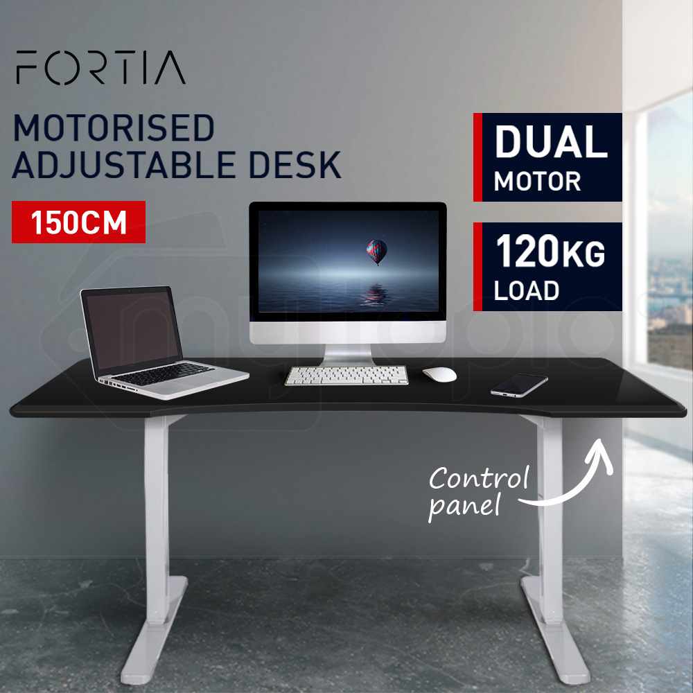 FORTIA Sit/Stand Motorised Curve Height Adjustable Desk 150cm Black/White
