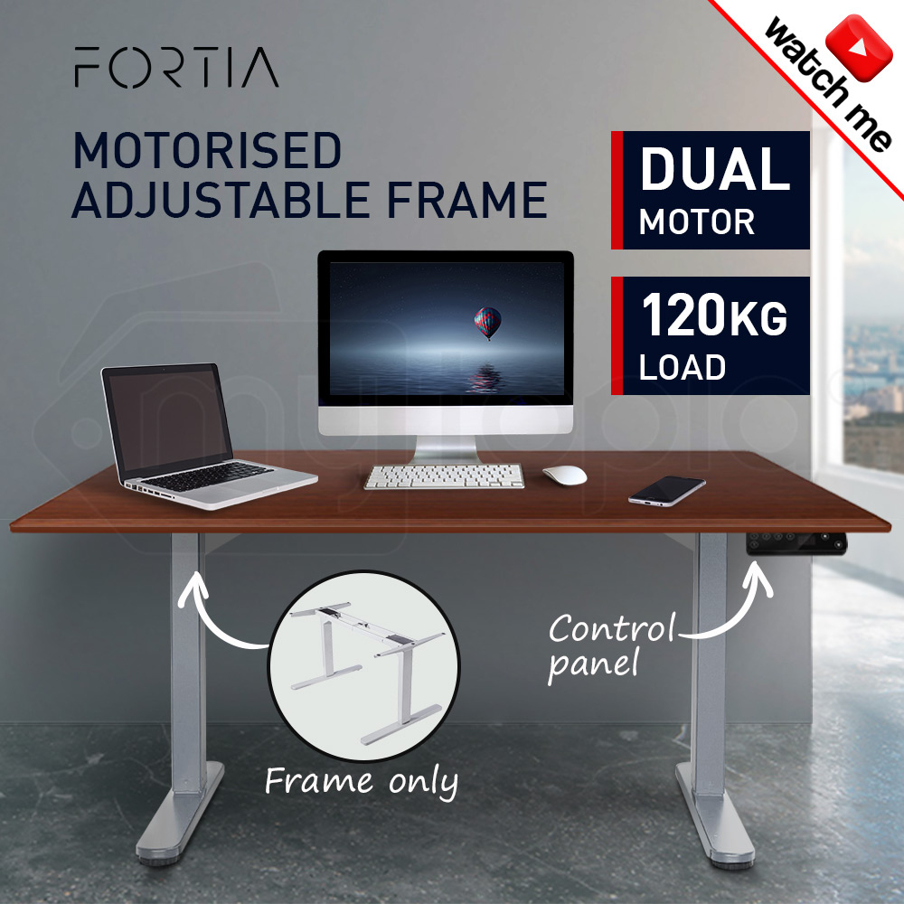 FORTIA Sit/Stand Height Adjustable Standing Desk Motorised Frame Silver - Frame Only
