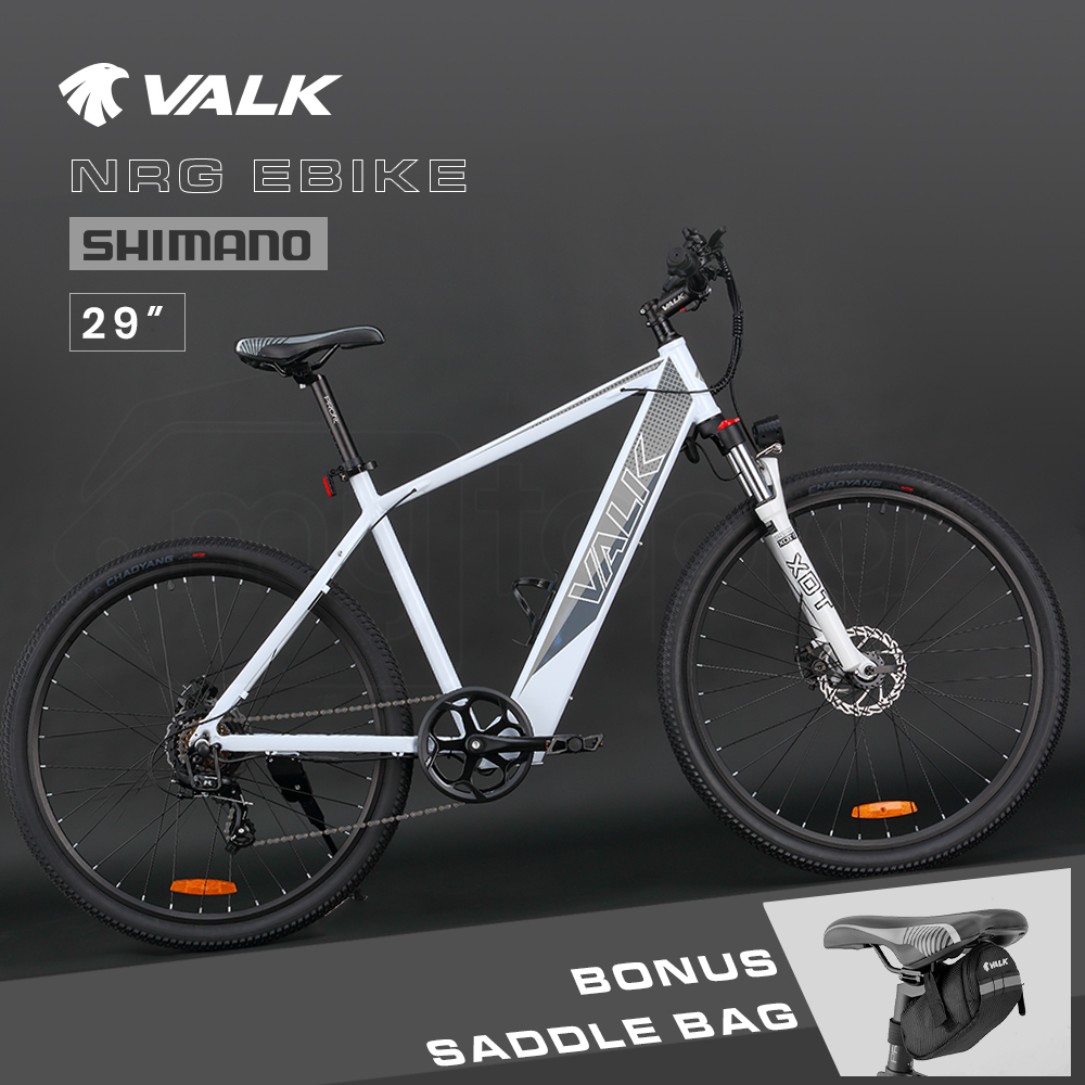"VALK 29"" Electric Hardtail Mountain e-Bike, Shimano, Integrated 36V 250W Battery, Disc Brakes, White and Grey"