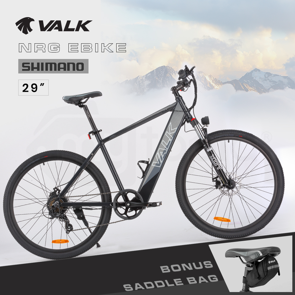 "VALK 29"" Electric Hardtail Mountain e-Bike, Shimano, Integrated 36V 250W Battery, Disc Brakes, Black and Grey"